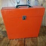 in orange, für ca. 20 LPs - Vintage Schallplattenkoffer