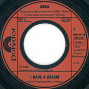 7inch Vinyl Single - Abba - I Have A Dream - Injected Labels