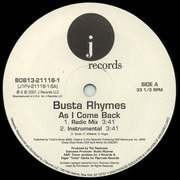 12inch Vinyl Single - Busta Rhymes - As I Come Back