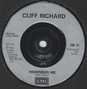 7inch Vinyl Single - Cliff Richard - Remember Me - Silver Injection Labels