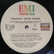 LP - David Bowie - Tonight - Indian Pressing