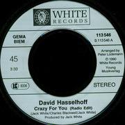 7'' - David Hasselhoff - Crazy For You (x2) (Vinyl Single)