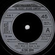 7'' - Elton John - Breaking Hearts