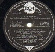 LP - Elvis Presley - Blue Hawaii - UK MONO BIG SPOT LONG PLAY
