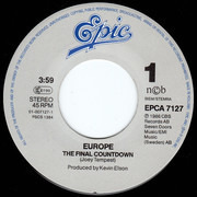7inch Vinyl Single - Europe - The Final Countdown - Tour Calendar