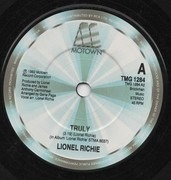 7inch Vinyl Single - Lionel Richie - Truly - Solid Centre