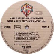 LP - Marius Müller-Westernhagen - Ganz Allein Krieg Ich's Nicht Hin