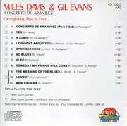 CD - Miles Davis & Gil Evans - Concierto de Aranjuez-Carnegie Hall, May 19th, 1961