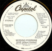7inch Vinyl Single - Missing Persons - Give