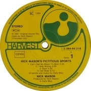 LP - Nick Mason - Nick Mason's Fictitious Sports - German Original, Harvest A1/B1 Matrix