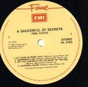 LP - Pink Floyd - A Saucerful Of Secrets - EMI logo