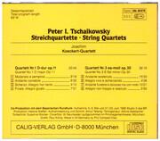 CD - Tchaikovsky - String Quartets · Nr. 1 D-Dur Op. 11 · Nr. 3 Es-Moll Op. 30