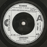 7'' - Rainbow - I Surrender - Silver Embossed Label