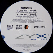 12inch Vinyl Single - Shannon - Give Me Tonight