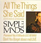 12inch Vinyl Single - Simple Minds - All The Things She Said / Promised You A Miracle / Don't You (Forget About Me)