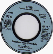 7inch Vinyl Single - Sting - They Dance Alone
