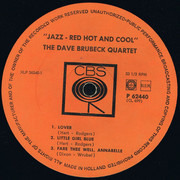 LP - The Dave Brubeck Quartet - Jazz: Red Hot And Cool