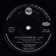 7inch Vinyl Single - The Mamas & The Papas - Dedicated To The One I Love