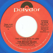 7inch Vinyl Single - The Moody Blues - The Other Side Of Life - Blue Translucent