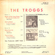 7inch Vinyl Single - The Troggs - Night Of The Long Grass / Girl In Black / Give It To Me / You're Lying