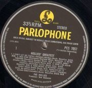 LP - The Hollies - Hollies' Greatest - UK YELLOW BLACK PARLOPHONE