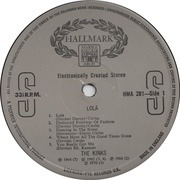 LP - The Kinks - Lola - 'Made in England' labels
