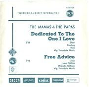 7'' - The Mamas & The Papas - Dedicated To The One I Love - Promo
