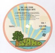 LP - Traffic - The Low Spark Of High Heeled Boys - original pink rim Island, corner cut