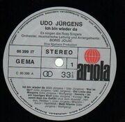 LP - Udo Jürgens - Ich bin wieder da - Gimmick Cover