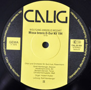 LP - Wolfgang Amadeus Mozart - Missa Brevis B-Dur KV 275, D-Dur KV 194