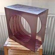 LP-Box, 70er Jahre - in transparent, für ca. 40 LPs, mit Mittelloch