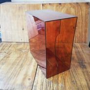 LP-Box, 70er Jahre - in transparent braun, für ca. 40 LPs