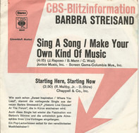 Barbra Streisand - Sing A Song/Make Your Own Kind Of Music