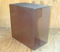 LP-Box, 70er Jahre - in transparent grau, für ca. 40 LPs
