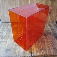 LP-Box, 70er Jahre - in transparent orange, für ca. 40 LPs