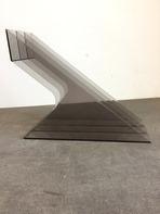 LP-Winkel, 70er Jahre - in transparent, geschwungene Form, für ca. 30 LPs