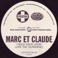 Marc Et Claude - I Need Your Lovin' (Like The Sunshine)