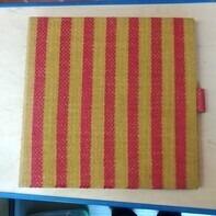Vintage Schallplattenalbum - in rotem Streifenmuster, für 12 LPs