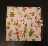 Vintage Schallplattenalbum - in weiß, mit Ethno-Design, für 20 Singles