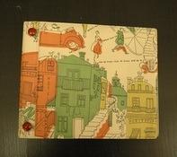 Vintage Schallplattenalbum - in weiß, mit gezeichnetem Paris-Design, für 15 Singles