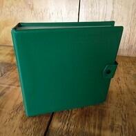 Vintage Schallplattenalbum - mit grünem Kunstoffüberzug, für 16 Singles