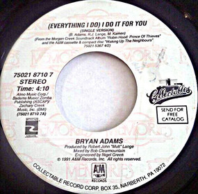 Bryan Adams - (Everything I Do) I Do It For You / Hearts On Fire