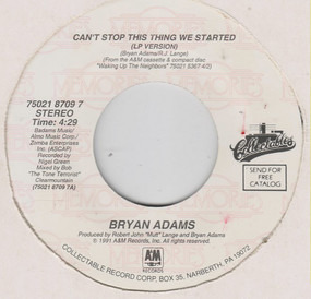 Bryan Adams - Can't Stop This Thing We Started  /  This Time
