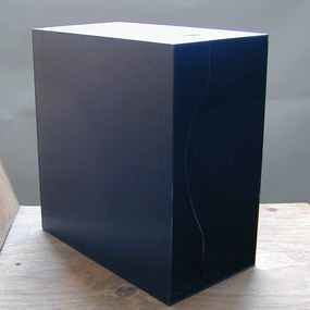 LP-Box, 70er Jahre - in glänzendem schwarz, für ca. 40 LPs