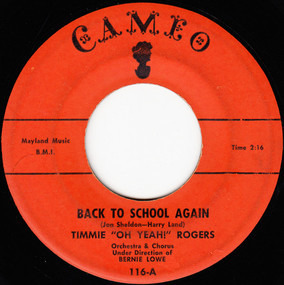 Timmie Rogers - Back To School Again / I've Got A Dog Who Loves Me