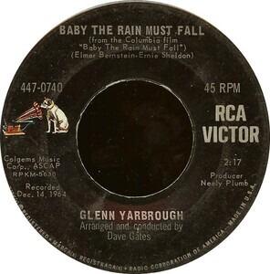 Glenn Yarbrough - Baby The Rain Must Fall / The Honey Wind Blows