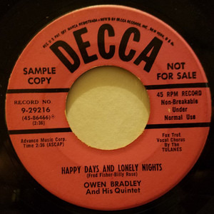 Owen Bradley - Friends And Neighbors / Happy Days And Lonely Nights