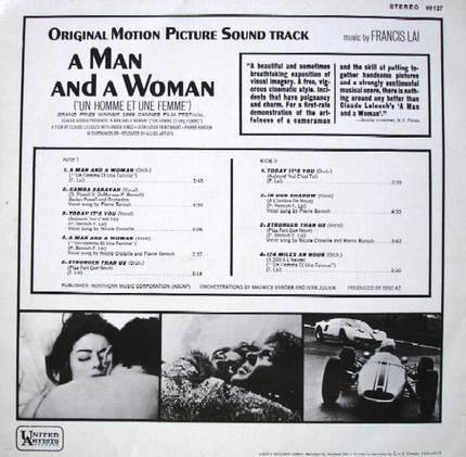 #<Artist:0x00000000086f3170> - A Man And A Woman (Original Motion Picture Soundtrack)