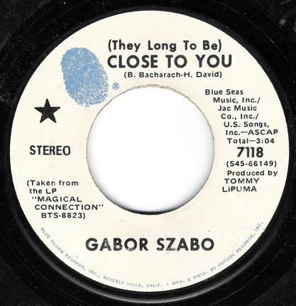 #<Artist:0x00007fcee361d938> - (They Long To Be) Close To You / Love Theme From Spartacus