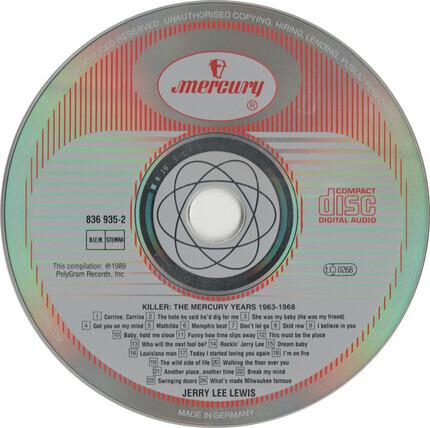 #<Artist:0x00007fcec05259b8> - Killer : The Mercury Years Volume One 1963-1968